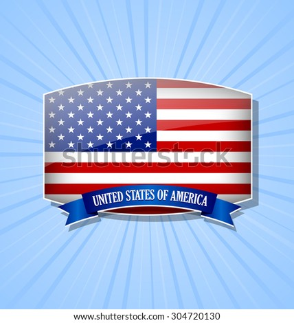 American bulged badge or icon with ribbon on blue background - stock vector