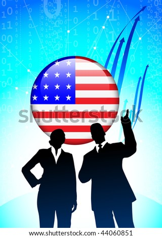 American Business team on Financial background Original Vector Illustration
