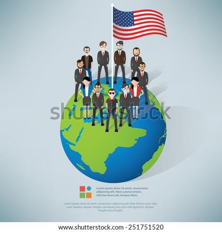 American,businessman info graphic design,clean vector - stock vector