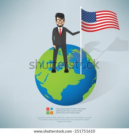 American businessman info graphic design,clean vector - stock vector