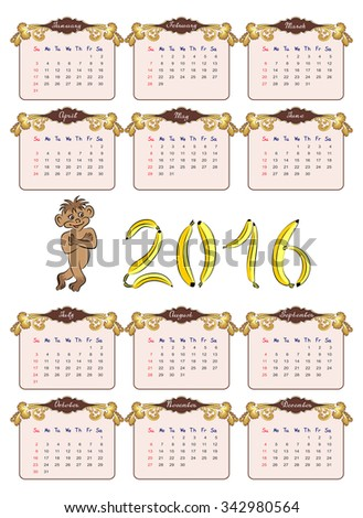 American calendar 2016 in vector isolated on white background with a monkey, decorated with banana