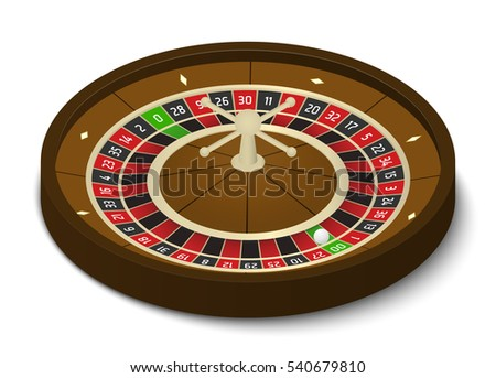 American casino roulette wheel in isometric view
