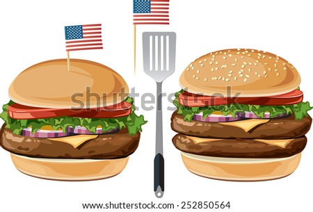 American Cheeseburger or Hamburger An illustration of an All-American hamburger and double cheeseburger. - stock vector