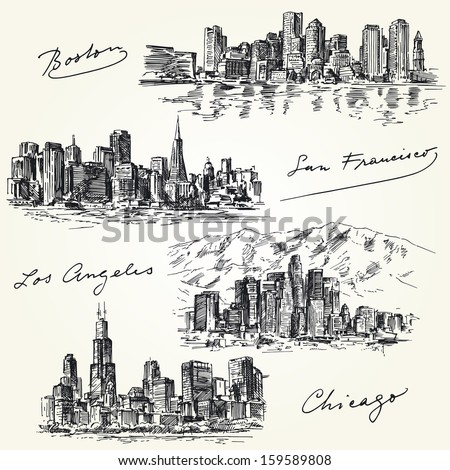 american cities skylines - hand drawn set - stock vector