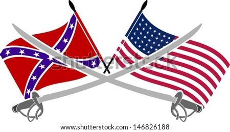 american civil war. stencil. seventh variant. vector illustration - stock vector