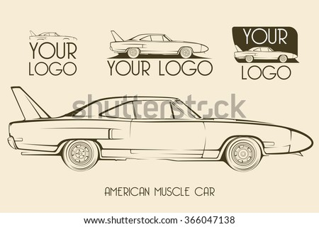 American classic muscle car silhouettes, outlines, contours. Your Logo - stock vector