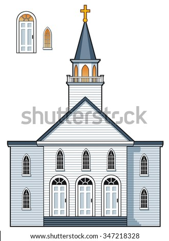 American colonial style church building with alternate doors and windows - stock vector
