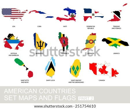 American countries set, maps and flags, part 2 - stock vector