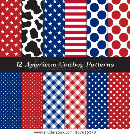 American Cowboy Seamless Pattern Pack with Cow Skin Print and Patriotic Red, White, Blue Stars, Stripes, Gingham and Polka Dots. Perfect for 4th of July BBQ. Pattern Swatches made with Global Colors. - stock vector