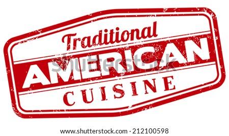 american cuisine stamp - stock vector