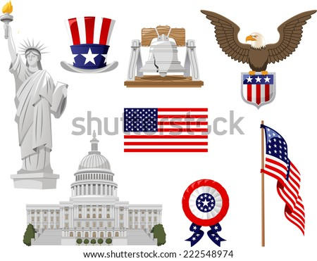 American Culture vector illustration icons, such as top hat, bell, liberty statue, flagged country, flag, white house collection set. - stock vector