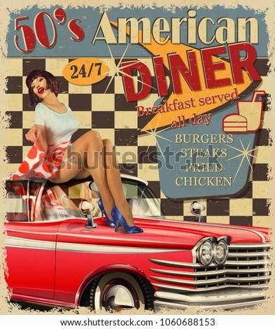 american diner vintage poster retro car stock vector 1060688153 shutterstock. Black Bedroom Furniture Sets. Home Design Ideas