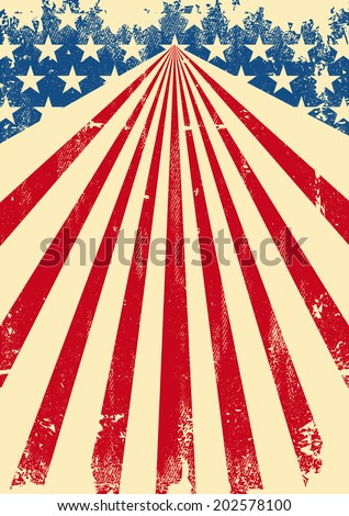 American dirty flag background. A vintage american poster with a texture