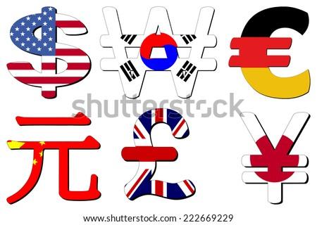 American Dollar Korean Won German Euros Stock Vector 222669229