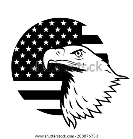 American eagle against USA flag background. EPS 8, CMYK - stock vector
