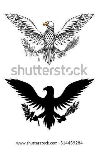American eagle holding an olive branch and arrows symbolic of war and peace - stock vector