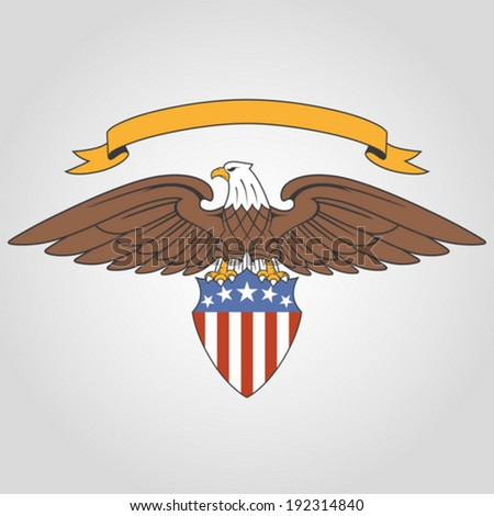 American eagle holding national flag shield and ribbon - stock vector