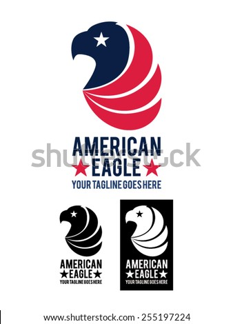 American Eagle is a template logo representing the head of an eagle, symbol of the USA, with white, red and blue flag colors. It is suitable for companies, business, studios, shops, etc. - stock vector