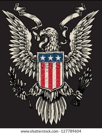 American Eagle Linework Vector - stock vector