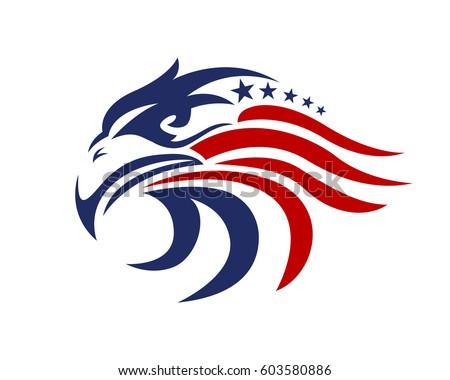 american eagle patriotic logo stock vector 603580886 shutterstock rh shutterstock com Vintage Patriotic Clip Art Patriotic Symbols Clip Art