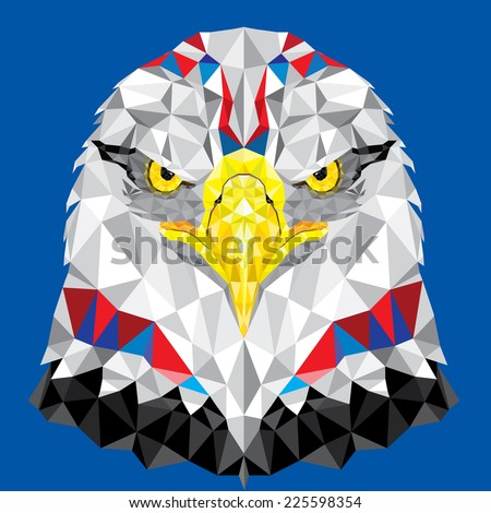American Eagle with geometric pattern vector - stock vector