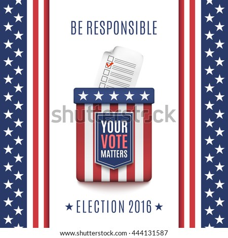 Voter registration stock images royalty free images vectors american election 2016 background with ballot box and voter registration application form vector illustration sciox Choice Image