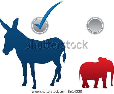 American election vector illustration - democratic win - stock vector