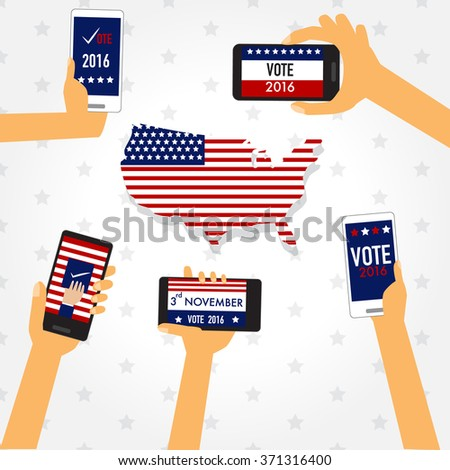 American election 2016  with smart phone vector. illustration EPS10.
