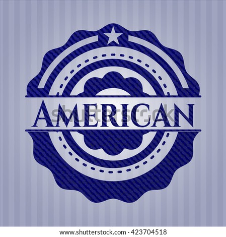 American emblem with jean texture - stock vector