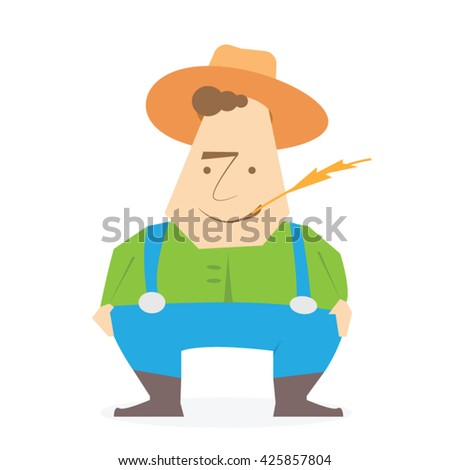 American farmer man. Vector illustration isolated on white background.