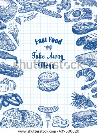 american, fast food, take away, bacon,  bread, breakfast, burger, cheese, chicken, croissant,  eggs, fish, fork, hamburger, ketchup, loaf, omelet, pepper, pizza, salami, salmon, sandwich, sausage - stock vector