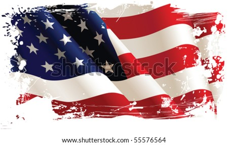 American flag. All elements and textures are individual objects. Vector illustration scale to any size. - stock vector