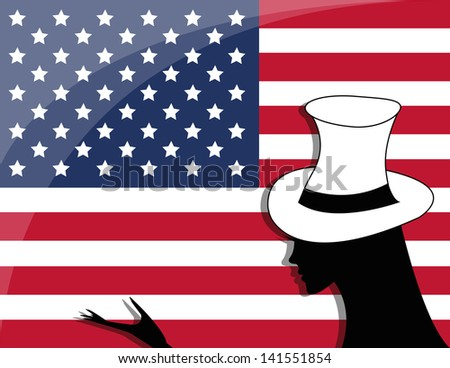 American flag and a girl - the celebration of Independence Day - stock vector