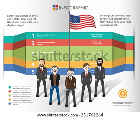 American flag and businessman info graphic design,clean vector - stock vector