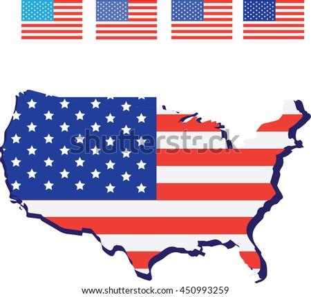 american flag and design usa and map