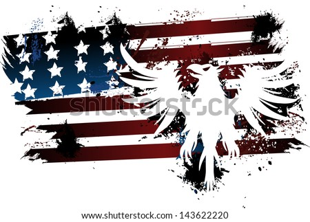 American flag and eagle grunge - stock vector
