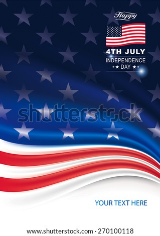 American flag background for Independence Day.  - stock vector