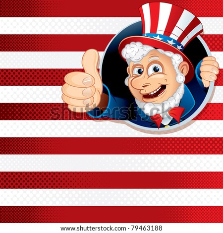 American Flag Background Theme with Cheering Uncle Sam, vector illustration - stock vector
