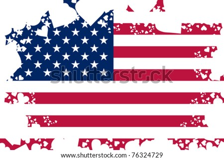 American flag background with grunge hearts - stock vector