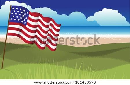 American Flag Beach Illustration Vector EPS 8 vector grouped for easy editing. - stock vector