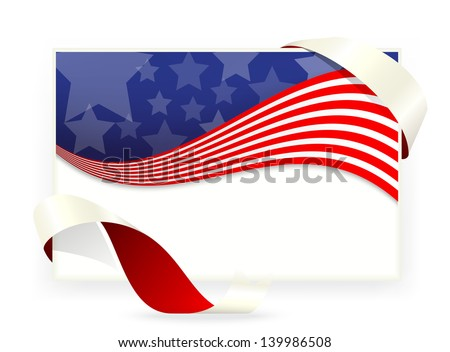 American flag , Business cards with ribbon - stock vector