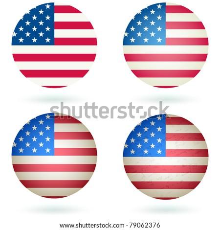 American Flag Button Icon or Symbol. Vector - stock vector