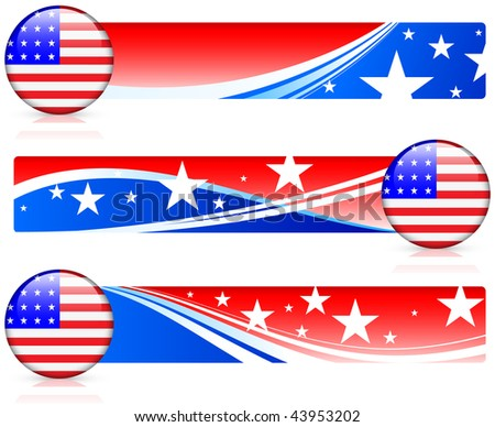 American Flag Button with Banners Original Vector Illustration