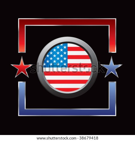 american flag circular icon in red and blue star frame - stock vector