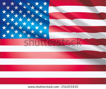 American Flag for Independence Day. USA flag waving in the wind, vector beautiful background. - stock vector