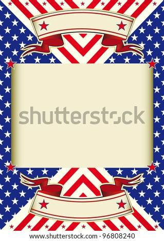 American flag frame background. A poster with a large beige frame for your text