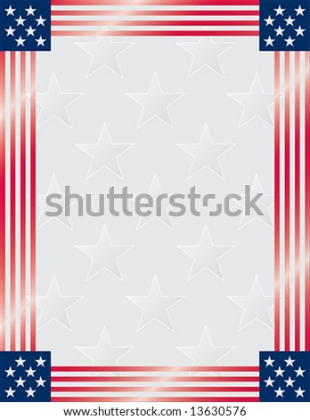 American Flag Frame with starry background. Vector.