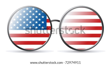 American flag Glasses reflecting the American flag