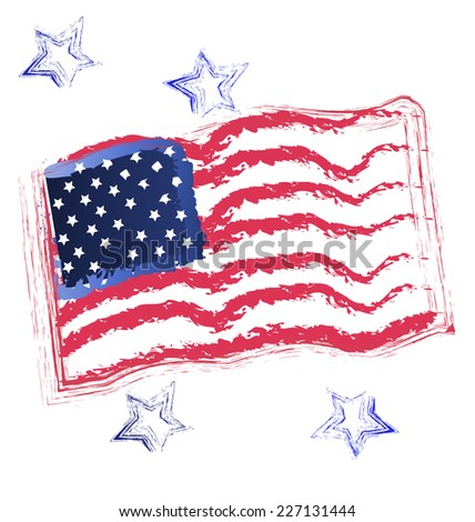 American flag grunge design illustration vector icon - stock vector