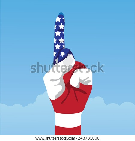 American flag hand making number one sign EPS 10 vector stock illustration - stock vector